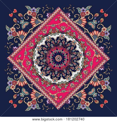 Ceramic tile lovely tablecloth carpet in ethnic style. Russian patchwork. Vector illustration.