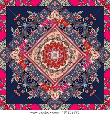 Unique bandana print. Lovely tablecloth with flower - mandala and bright ornament. Carpet. Pillowcase. Scarf. Patchwork pattern in russian style.