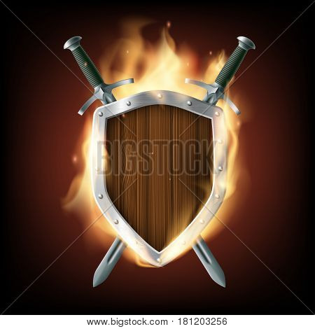 Icon coat of arms a wooden shield with swords on fire. Stock vector illustration.