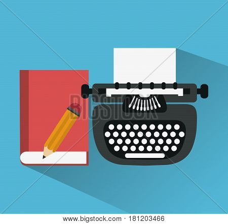 typewriter with book and pencil icons image vector illustraiton design