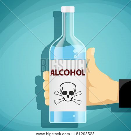Human hand holding a bottle of alcohol. Skull and crossbones. Flat graphics. Stock vector illustration.