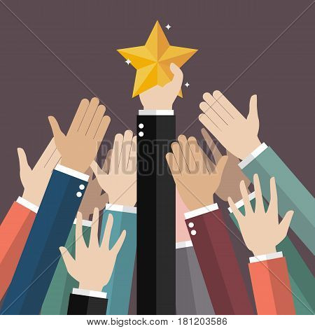 Group of hand reaching for the star. Vector illustration
