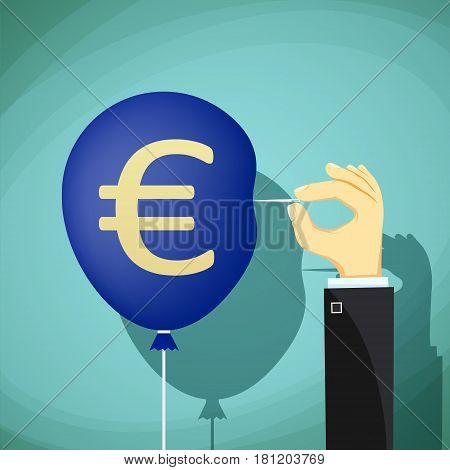 Hand with needle pierces the balloon. Euro currency symbol. Stock vector illustration.
