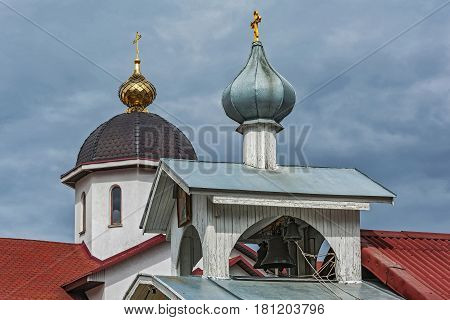Belarus Minsk - 08.04.2017: Belfry with bells of the Church of St. Michael the Archangel