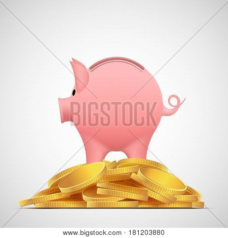 Piggy bank pig on the heap gold coins. Save money. Stock vector illustration.