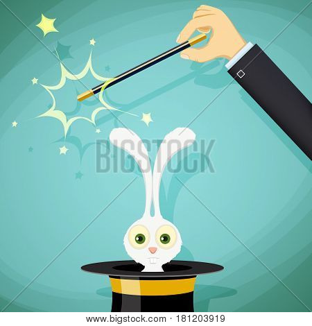 Magician with magic wand and a rabbit in a hat. Stock vector illustration.