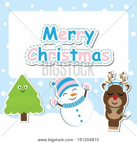 Cute deer, snowman and Xmas tree vector cartoon for Xmas postcard, wallpaper, and greeting card, vector illustration