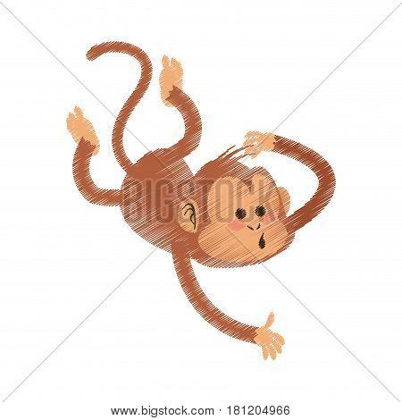 playful monkey cartoon icon image vector illustration design