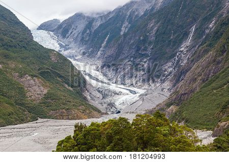 Scenic landscape at Franz Josef Glacier in Southern Alps West Coast South Island New Zealand.