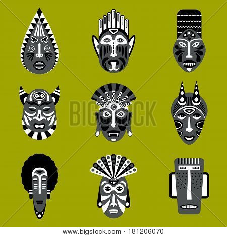 Set of ethnic mask icons in flat style. EPS10 vector collection of african tribal mask icons.