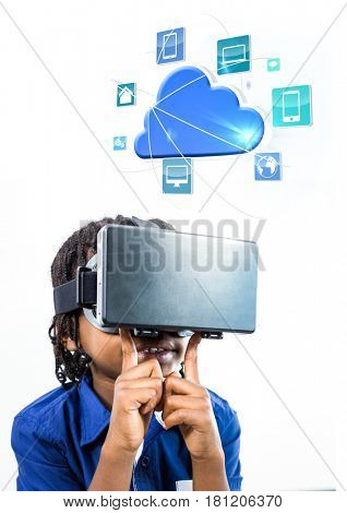 Digital composite of Child wearing VR Virtual Reality Headset with Interface
