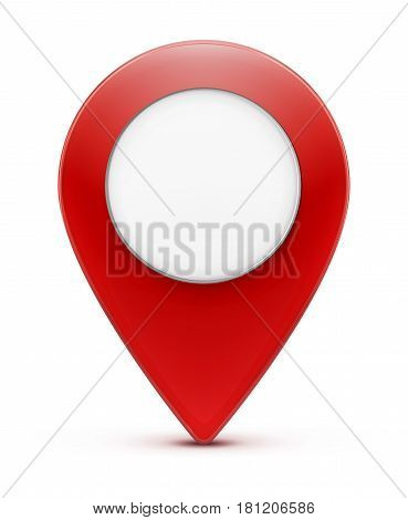 Vector illustration of glossy red map location pointer icon