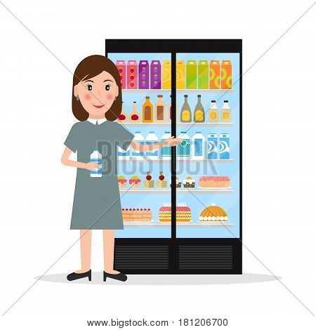 Grocery store female salesperson against glass refrigerator with food in flat style. Smiling gesturing woman retail store seller against vitrine with goods.