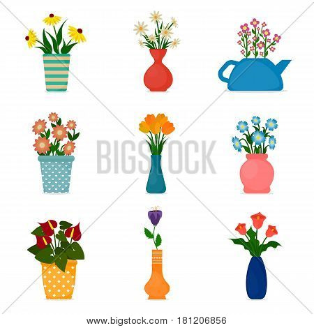 Gardening icons houseplants and potted flowers. EPS10 vector illustration in flat style.
