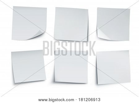 Vector illustration of white post it notes isolated on white background.