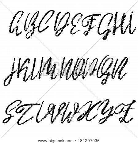 Handwritten Vector Chalked Alphabet. Imitation Texture Of Chalk. Modern Hand Drawn Alphabet. Isolate