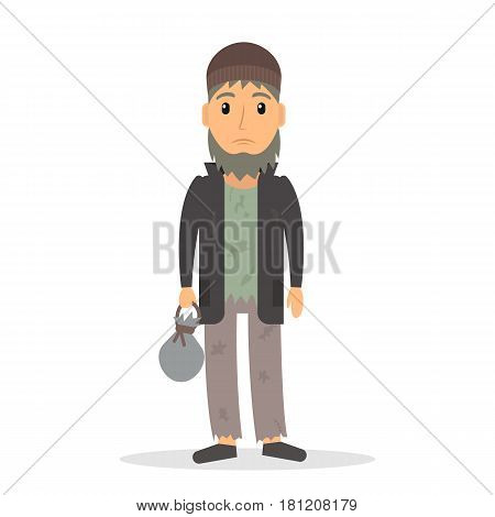 Homeless unemployed man. Beggar in rags. EPS10 vector illustration in flat style.