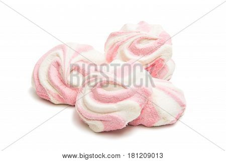 Marshmallow pastel confectionery isolated on white background