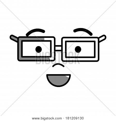silhouette man face with eyes, mouth, nose and glases, vector illustration