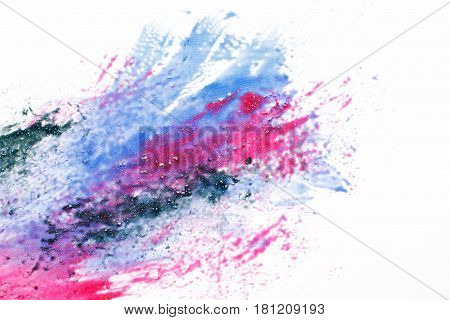Abstractionism, creativity, inspiration. Modern space art, galaxy, vivid mix of sparkling colors on white background.