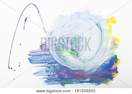 Abstractionism, colorful creative painting, modern art, creativity. Water swirl, smeared blue paint mixed with yellow, green and pink on white background.