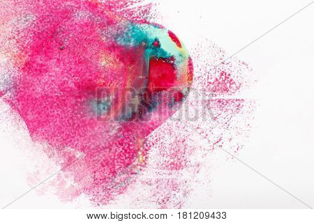 Abstract colorful painting, creative modern art, mix of magenta, cyan and yellow colors on white background.