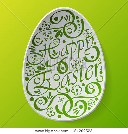 White Easter egg silhouette with text and pattern