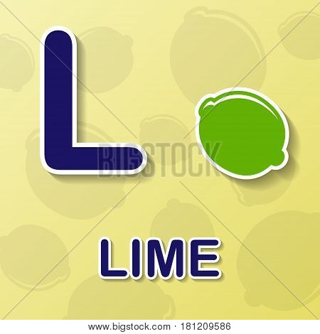 Lime symbol with letter L and word