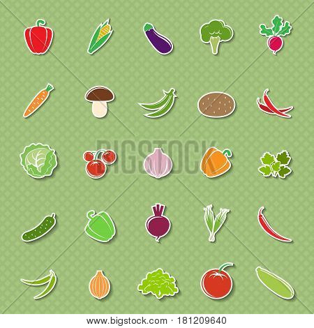 Set of different vegetables symbols isolated on green background