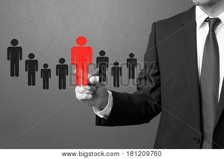Businessman choosing right partner from many candidates.