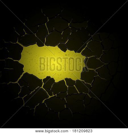 Abstract yellow cracked background with grunge blots