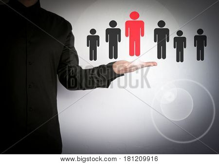 Businessman choosing right partner from many candidates. Cloud and application software icons