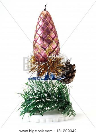 Christmas decoration with candles pine cones spruce branches on white background
