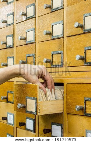Librarian open library cards index. Database concept