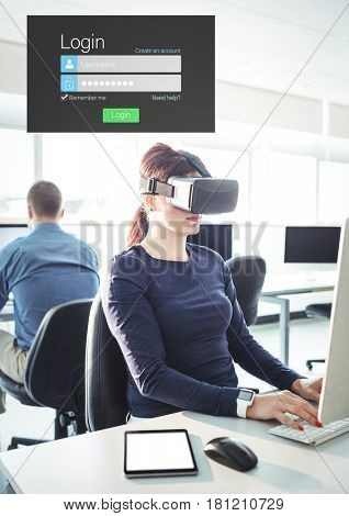 Digital composite of Woman wearing VR Virtual Reality Headset with Login Interface