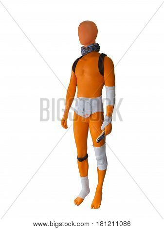 Supportive orthopedic elastic bandages are shown on mannequin isolated on white background. No brand names or copyright objects.