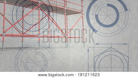 Digital composite of 3D red scaffolding whit grey background