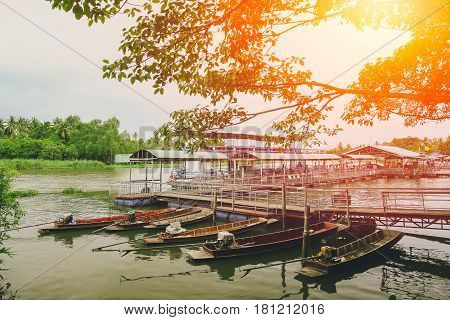 Boat dock in the river of Don Wai Market of Nakhon Pathom.