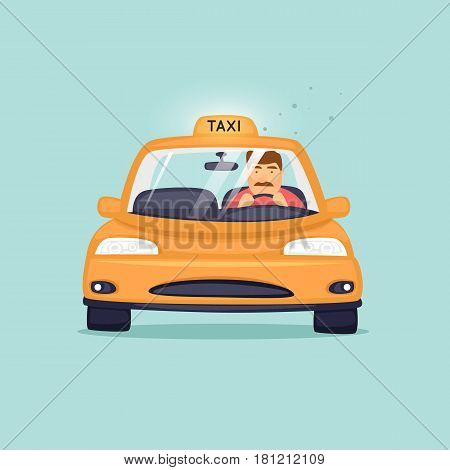 Taxi driver is in a taxi. Character design. Flat design vector illustration.