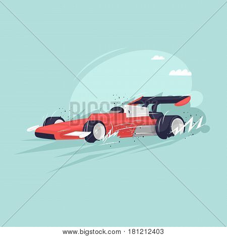 Formula 1 Car race car racing. Isolated. Extreme sport. Flat design vector illustrations.