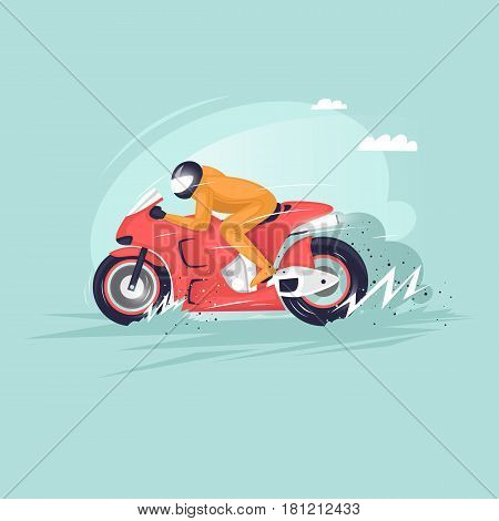 Motor Racing. Motorcycle. Isolated. Extreme sport. Flat design vector illustrations.