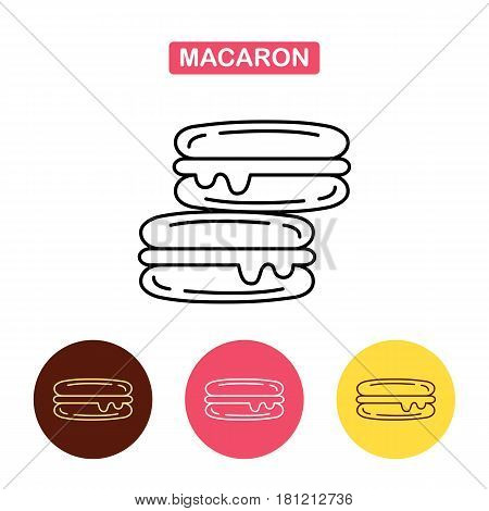 French macaron cookies icon. Bakery products image. Outline vector Logo illustration. Trendy Simple vector Illustration isolated for graphic and web design for confectionery shop or cafe.