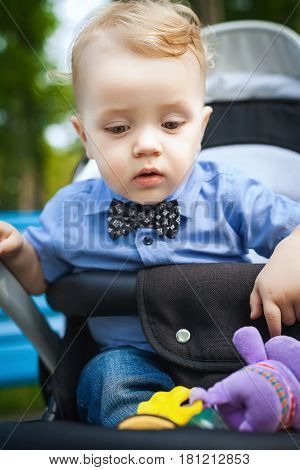 little boy sitting in a stroller. baby for a walk in a pram. summer outdoors. Child in buggy Little kid in pushchair. Transportation for family with infant