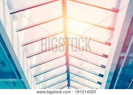 ceiling glass roof eco building interior natural lighting for saving energy cost.