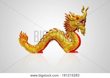 Chinese golden dragon isolated on white cut with path.