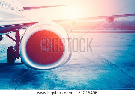 Future Power Of Air Plane, Aircraft Jet Engine.