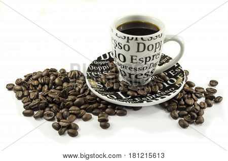 Coffee Cup And Coffee Beans Laying On White Background