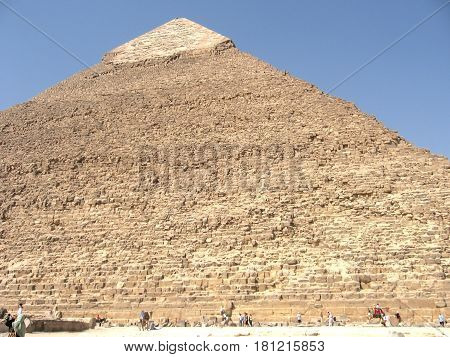 The people at the great pyramid of Cheops in Egypt. Close-up