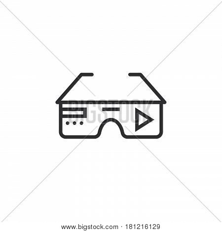 Virtual Reality Eyeglasses Line Icon, Outline Vector Logo Illustration, Linear Pictogram Isolated On