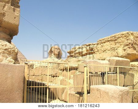 Sphinx on the background of ancient ruins in Egypt
